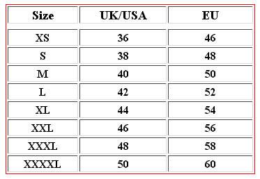 Men's jacket size conversion chart